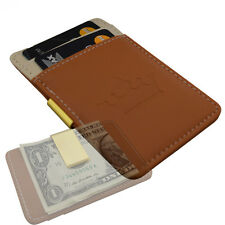 Mens Minimal Money Clip Wallet -Brown Cream Gold- Faux Leather Cash Card Holder