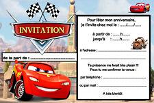 5 - 12 ou 14 cartes invitation anniversaire cars réf 459