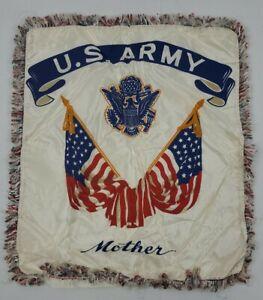 Vintage U.S. Army Mother Pillow Sham Pillow Case WW2 , Korea ? US Flag