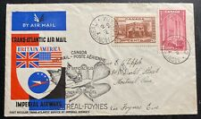 1939 Montreal Canada First Flight Airmail Cover FFC to Dublin Ireland Imperial