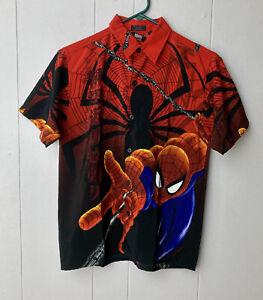 SPIDERMAN 2002 MARVEL Comics Boys S 8/10 Shirt Large Print Button Up