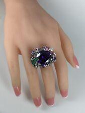 Amazing Large Purple CZ & Crystal Frog Flower Ring Brass Silvertone Size 8.25