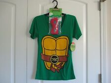 Nickelodeon TMNT size M green cotton blend  v-neck tee with masks NWT