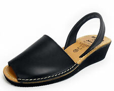 Black Avarcas Wedge / Heel Menorquinas Ladies Leather Open Toed Sandal