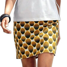 genial mini Rock Gr.44 XXL Baumwolle Waben-Muster lufitg weiß braun senf Sommer