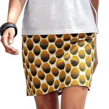 8fc89c529b472a genial mini Rock Gr.44 XXL Baumwolle Waben-Muster lufitg weiß braun senf  Sommer