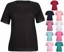Womens Plus Size Stripe Ladies Stretch Short Sleeve Scallop Long Tunic Dress Top