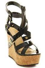Shoe Republic Patent Strappy Cork Platform Wedge #Prius-s