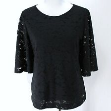 Banana Republic Lace Top Womens S Black Short Bell Sleeve Lined Blouse