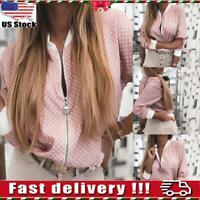 Womens Ladies Long Sleeve Polka Dot Bomber Jacket Zip Up Short Biker Coat Tops