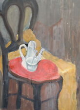 Vintage fauvist oil painting still life with chair and teapot