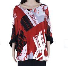 Alfani Women's Blouse Red Black Size 1X Plus Scoop Neck Bubble Sleeve $75 #020