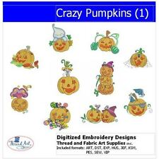 Embroidery Design CD -Crazy Pumpkins(1) - 10 Designs - 9 Formats - Threadart