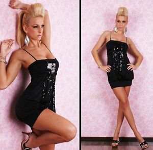 Womens Sequin Embellished Black Strappy Sexy Evening Party Mini Dress size 8 10