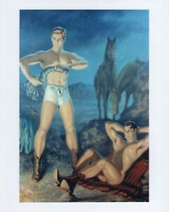 GAY: Vtg Retro Male Physique Art Print WARMING BY THE FIRE George Quaintance g5