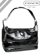 NWT Coach Black Signature Patent Leather Leather Hobo Bag Purse F17421