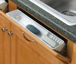 REV A SHELF SINK FRONT TIP OUT TRAY WITH RING HOLDER & SOAP DISH & NO STOPS