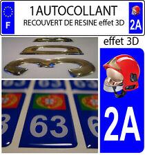 1 sticker plaque immatriculation auto DOMING 3D RESINE CASQUE F1 POMPIER DEPA 2A