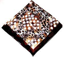 SCARF Large Square Light & Dark Brown & Black & Gold DOTS & JAGUAR SPOTS