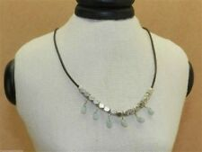 Fossil Leather Necklace Silvertone Nugget Drops Mint Green Stones New! NWT