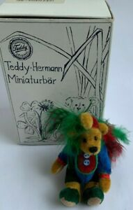 Rare Hermann Teddy Original Miniature Mohair Kiki Multicoloured Bird Jester Bear