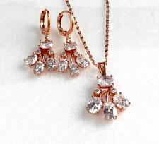 New Dangle Earrings Necklace Pendant Set Women Rose Gold Plated CZ Cubic Crystal