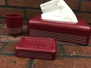 Vintage Bath Plastic Set Tissue, Cup, Soap Dish