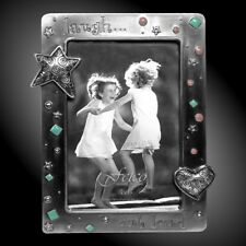 """""""Laugh Out Loud"""" Metal Picture Frame 4"""" X 6"""" With Rhinestones & Beads NEW"""
