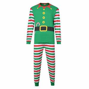 Xmas Festive Red Green Mens Striped Christmas Eve Elf Family Pyjamas Size Small