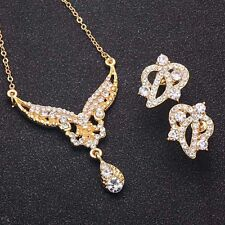 Gold Plated Crystal Rhinestone Necklace Earrings Jewelry Sets for Wedding