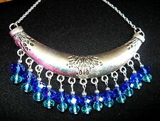 HANDCRAFTED UNIQUE STATEMENT COLLAR NECKLACE WITH BLUE & AQUA DROPS