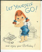 AP-090 Let Yourself Go Red Head Norcross Vintage Greeting Card Girl Girdle '60's