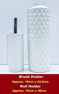 Bathroom Accessories 2Pcs Ceramic Round Set Toilet Paper Roll &  Brush Holder