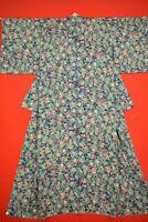 Vintage Japanese Silk Antique BORO KIMONO Kusakizome KOMON Dyed Textile/YD08/935