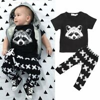 2pcs Newborn 6 9 12 18 Months T-shirt Top+Pants Set Baby Boy Outfit Kids Clothes