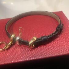 Cartier Love Charm Calfskin Leather Bracelet 18k YG 18k WG