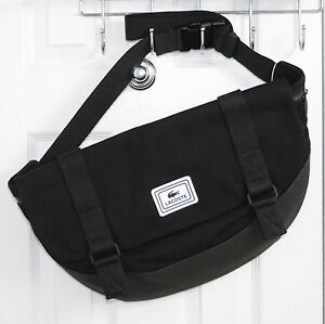 LACOSTE Men's Large Crossover Bag Black Cotton, PVC NEW with TAG