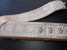 55mm metallic sequin antique gold jacquard embroidered ribbon applique trimming