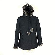 CAbi Women Coat Jacket Size Medium 8 10 Plaza Thin Black Quilted Fur Trim Hooded