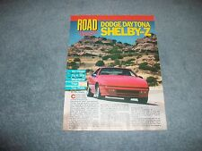 1988 Dodge Daytona Shelby Z Vintage Road Test Info Article