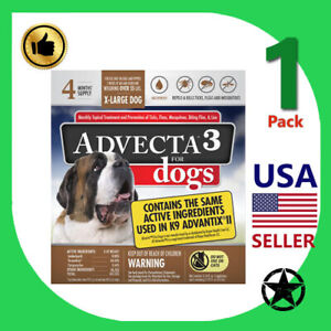 1 Pack Advecta 3 Flea & Tick Treatment for XL Dogs - 4 Month Supply