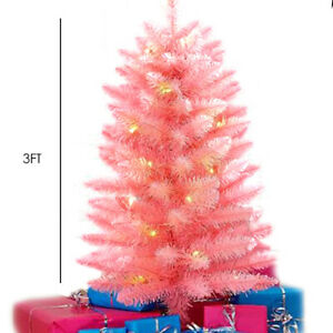 Pink Christmas Tree LED Lights Home Xmas Artificial Pre-Lit 3ft