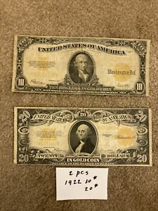 Lot Of Two LARGE United States $10 And $20 Gold Coin Certificates Series Of 1922