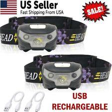 2-Pack USB Rechargeable LED Headlamp Flashlight Headlight Head Torch Waterproof