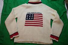 us polo assn. sweater sz.M,,wool  BLEND,cream white,ivory,flag usa,turtleneck x