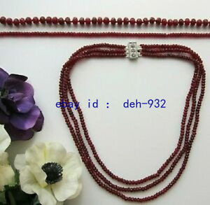 1 or 3 Row Brazil Red Ruby Faceted Beads Necklace 3 x 4 mm & 5 x 8 mm - New.