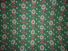 ancien tissu textile ameublement imprimé fleurs vert vintage années 60 122x100