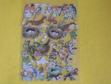 1x Poesiebilder Oblaten Vogelnester 069 Glanzbilder Vögel birds Eier Schmetterli