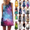 Womens Tank Top Mini Dress Galaxy 3d Print Summer Casual Prom Party Tunic Dress