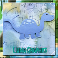 DINOSAUR BLUE Embellishment card toppers and scrapbooking